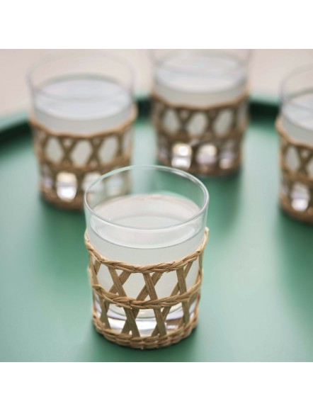 Set de 4 verres - rotin