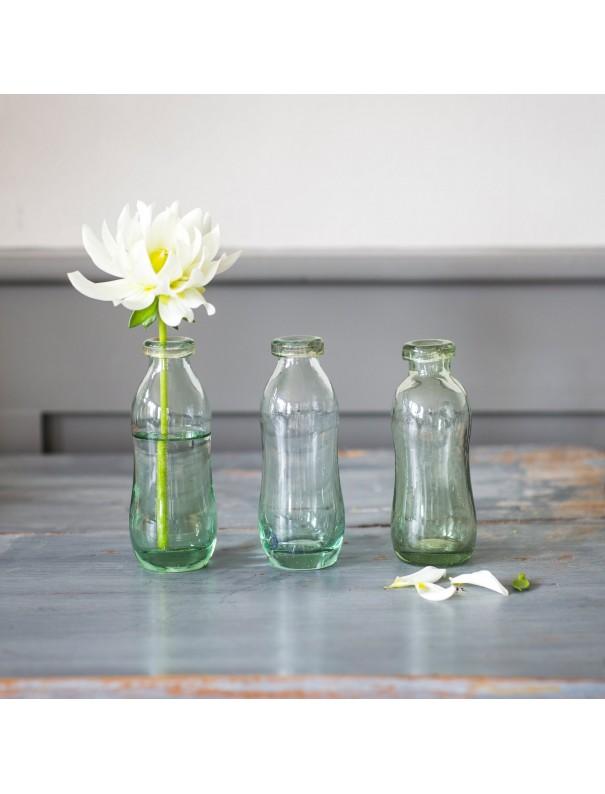 Set 3 bouteilles/vases verre recyclé