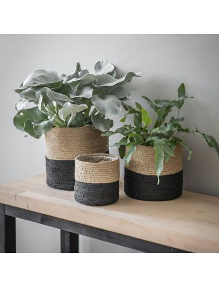 Set 3 pots bicolore en Jute